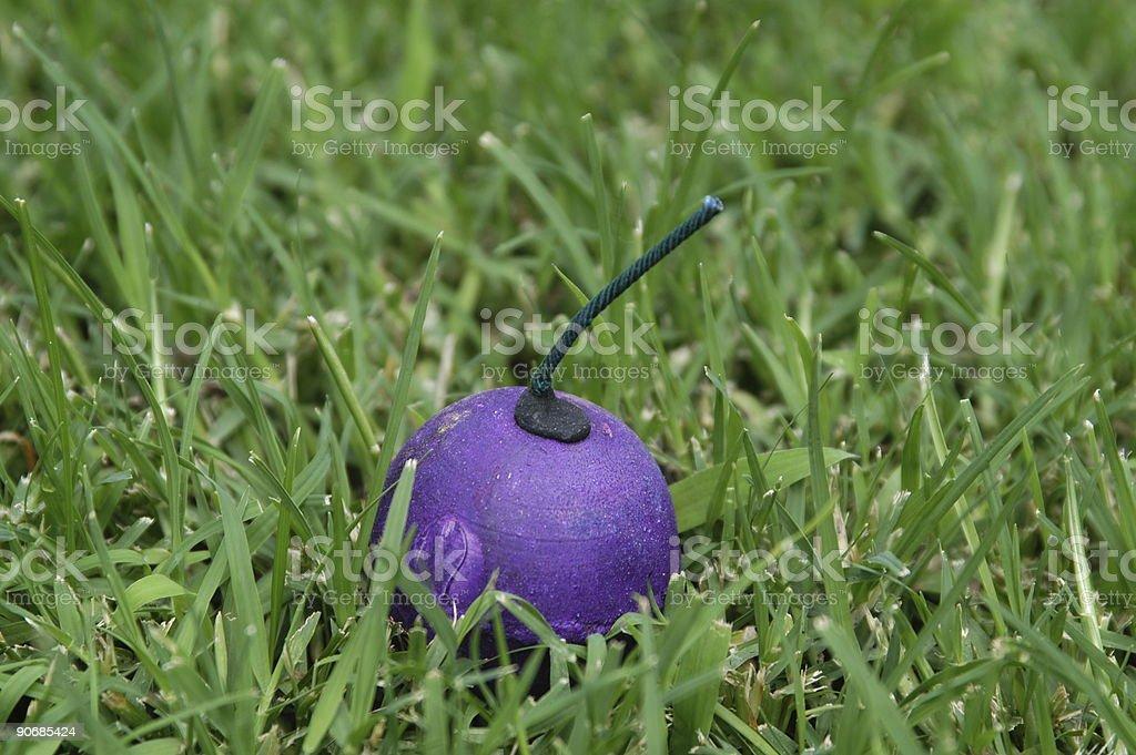 Purple Smoke Bomb stock photo