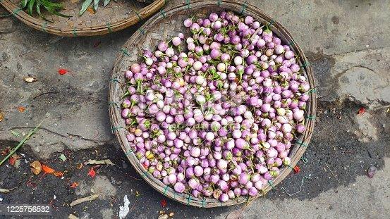 purple solanum macrocarpon for sale at street market in vietnam