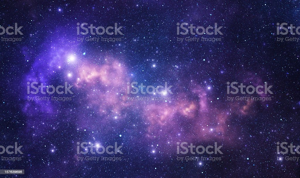 Purple space stars stock photo