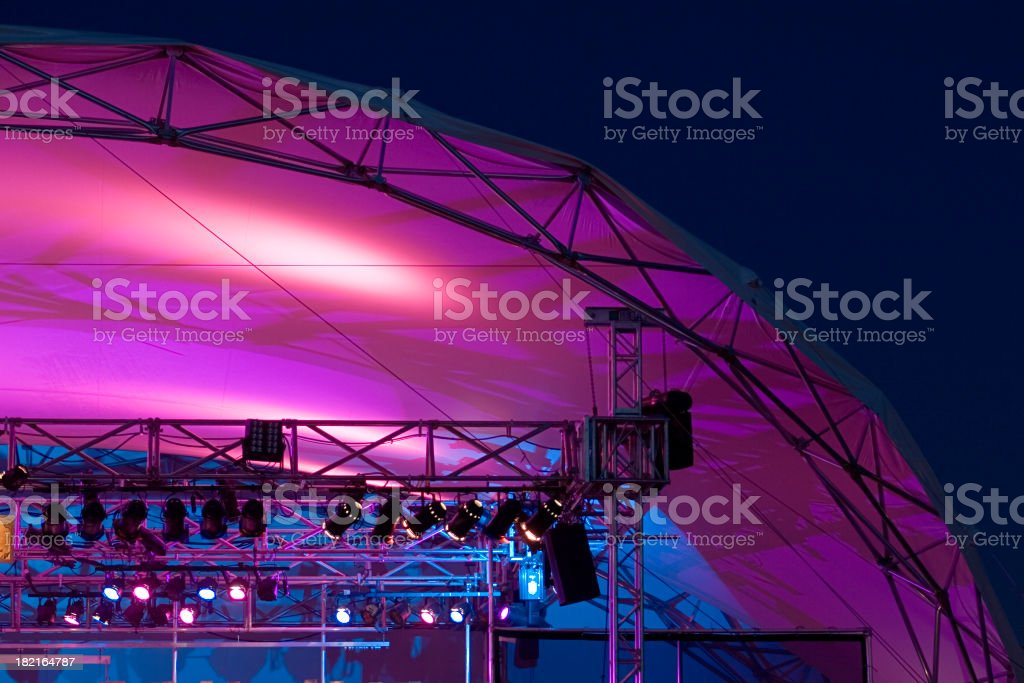 Purple stage lights and tent. stock photo
