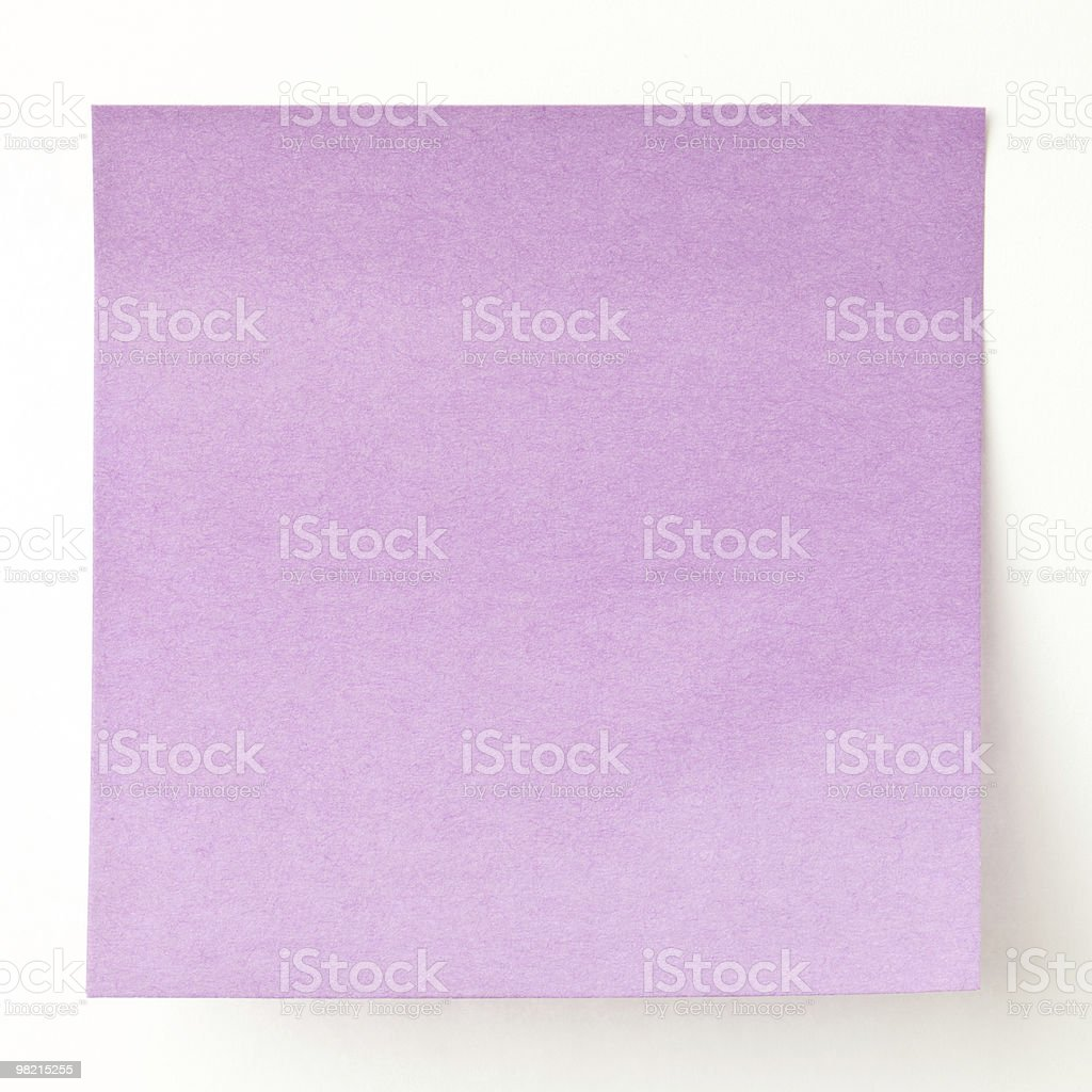 purple sticky note reminder on white background royalty-free stock photo