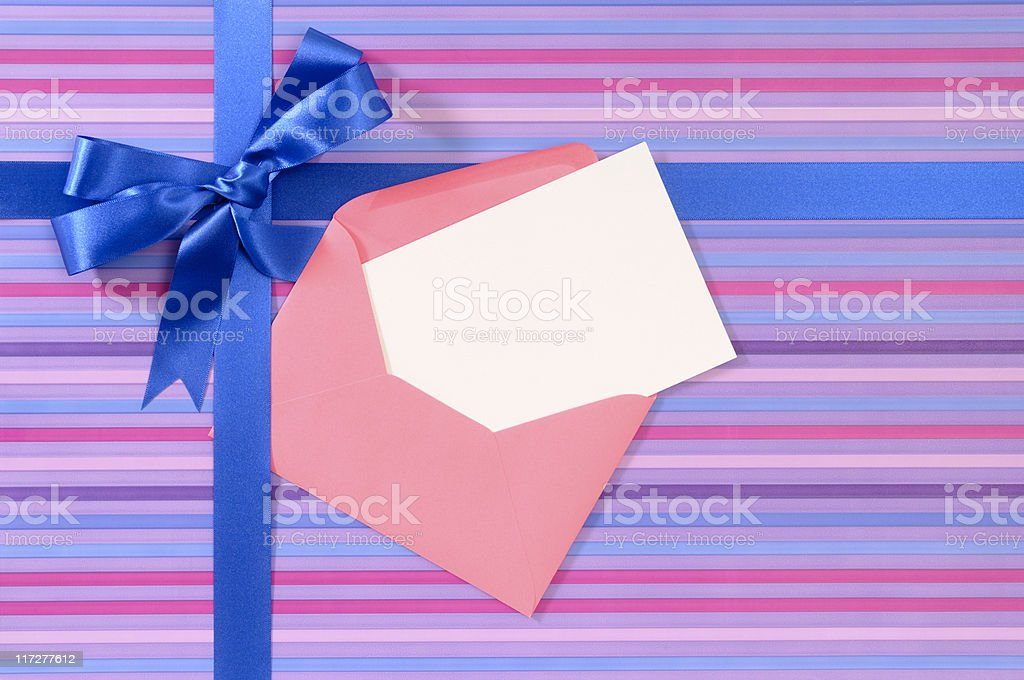 Purple striped gift royalty-free stock photo