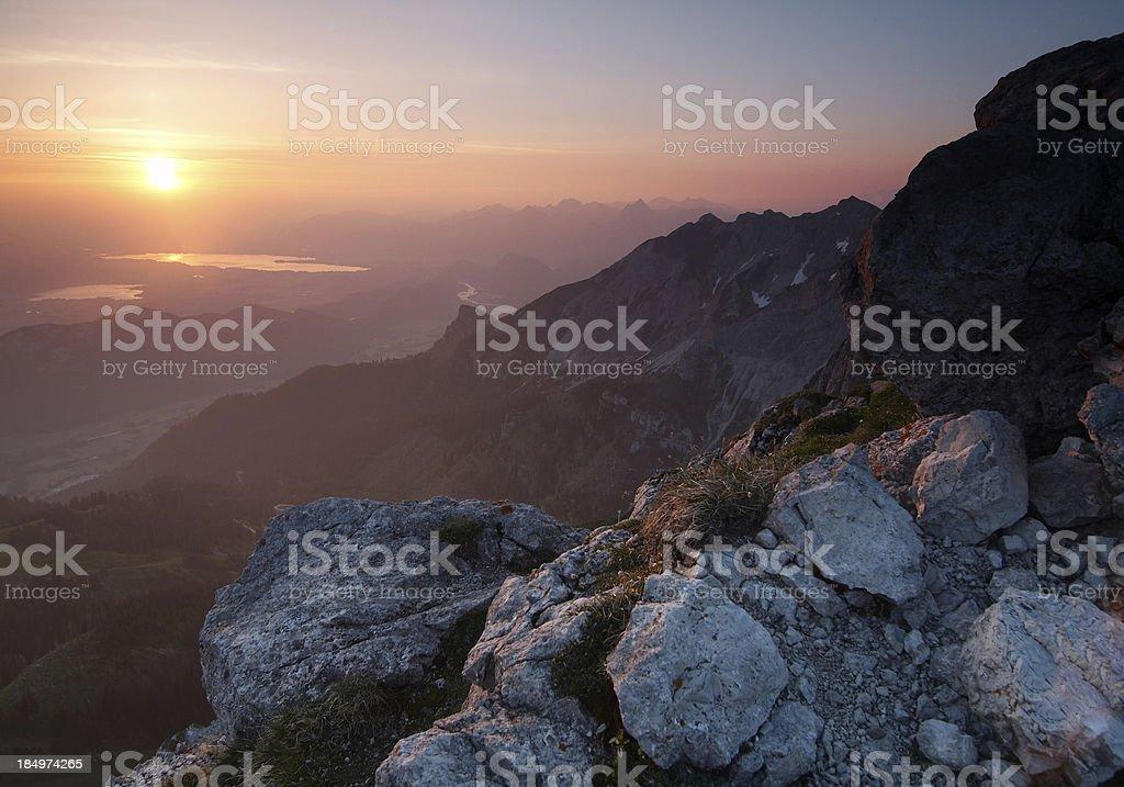 purple sunrise on mt. aggenstein royalty-free stock photo