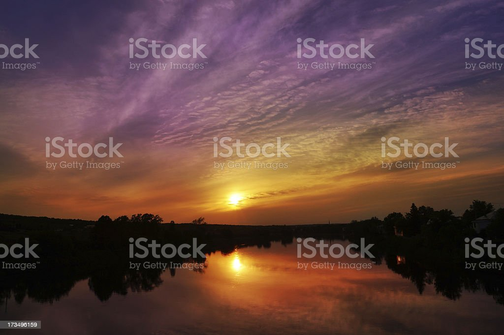 Purple sunset from Quebec city royalty-free stock photo