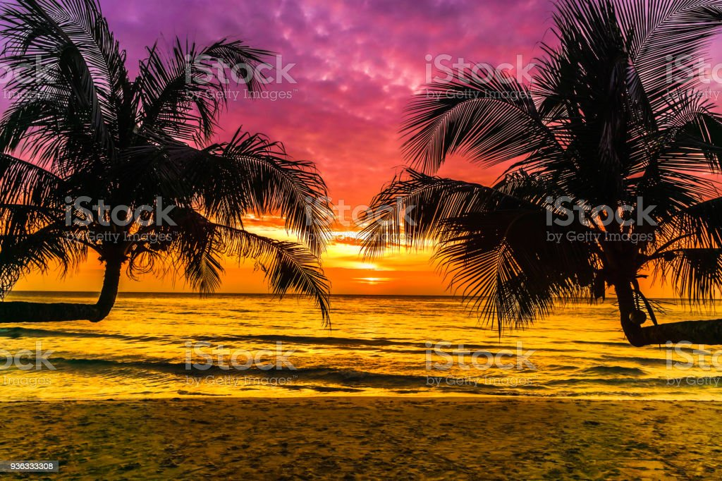Purple Sunset On Tropical Beach On Koh Kood Island In Thailand Stock Photo Download Image Now Istock