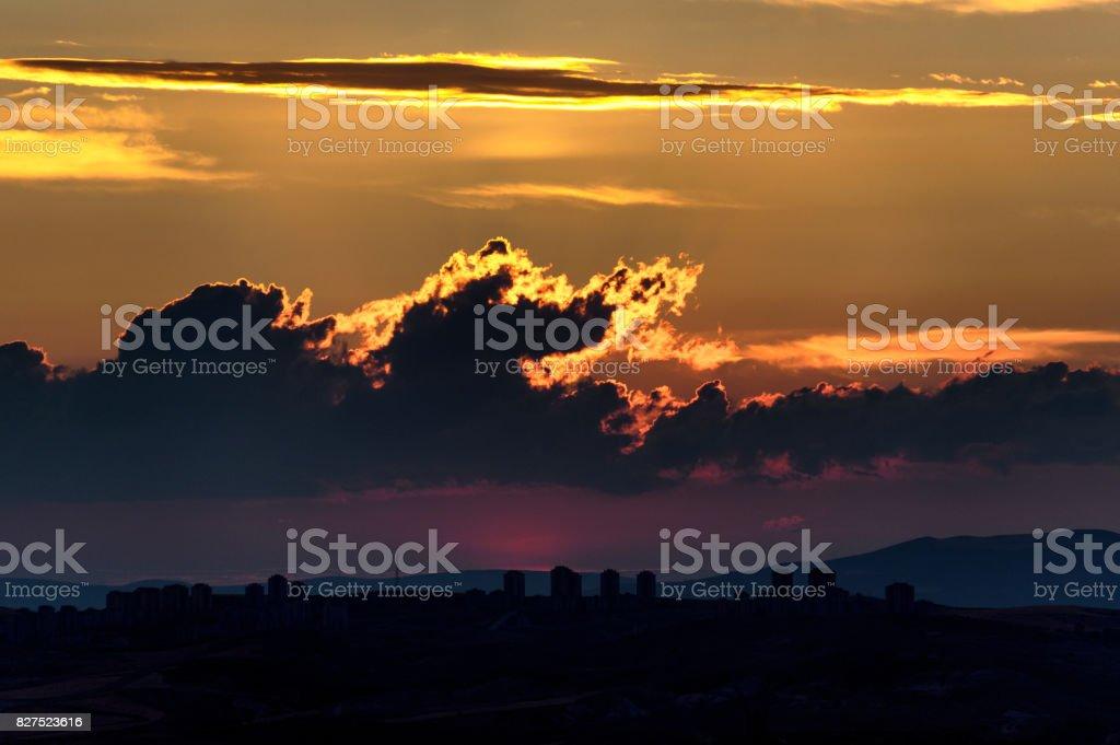 Mor günbatımı stok fotoğrafı