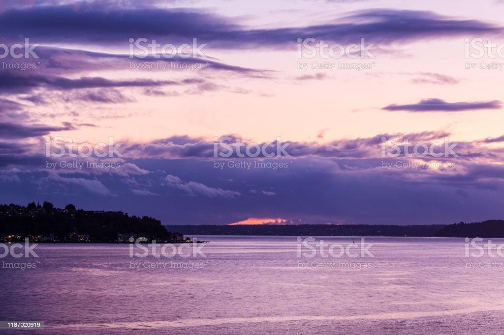 Purple Sunset With Hints Of Orange On A Beautiful Evening Overlooking Puget Sound Stock Photo Download Image Now Istock