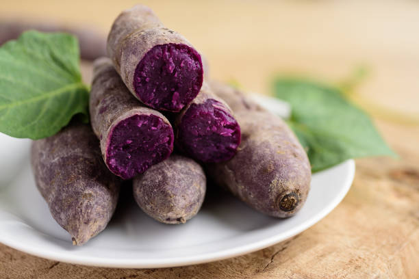Purple sweet potatoes stock photo