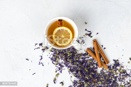 Violet tea on white background. Directly above.