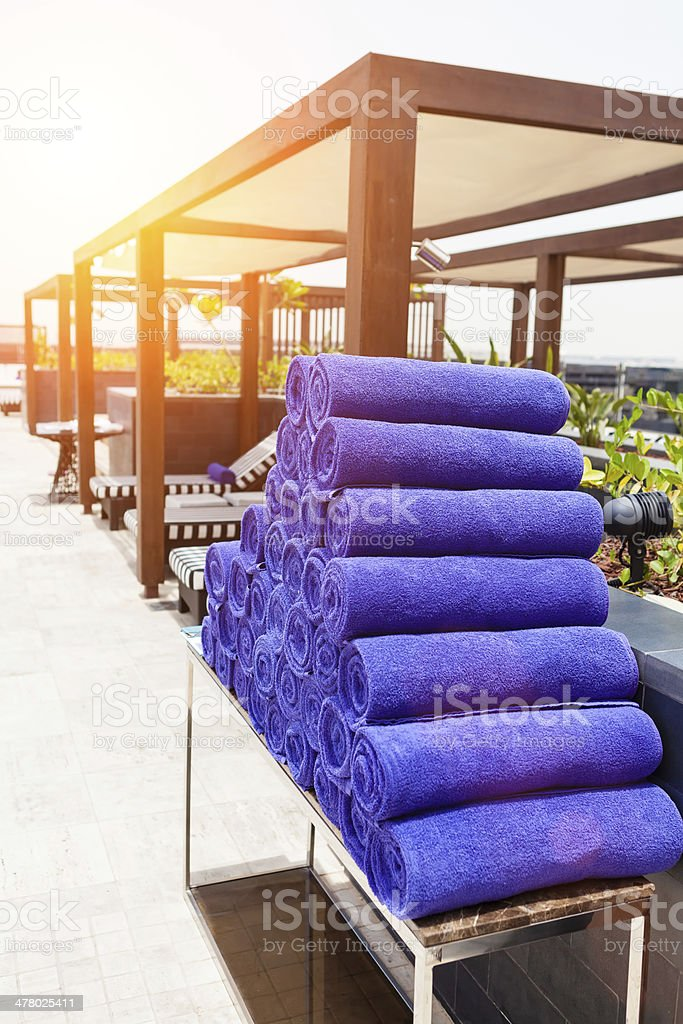 Purple towels royalty-free stock photo