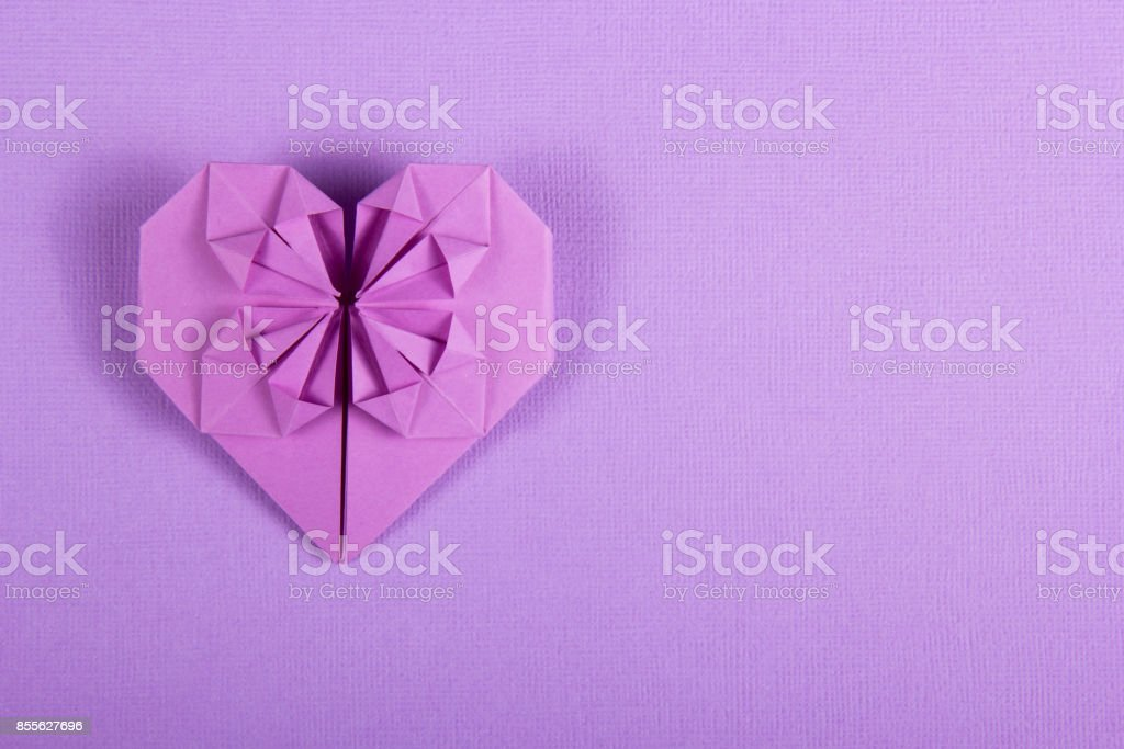 Purple Valentine Origami On A Lilac Background Heart Of