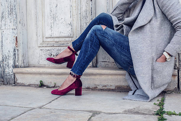 purple velvet woman shoes - shoes fashion stock photos and pictures