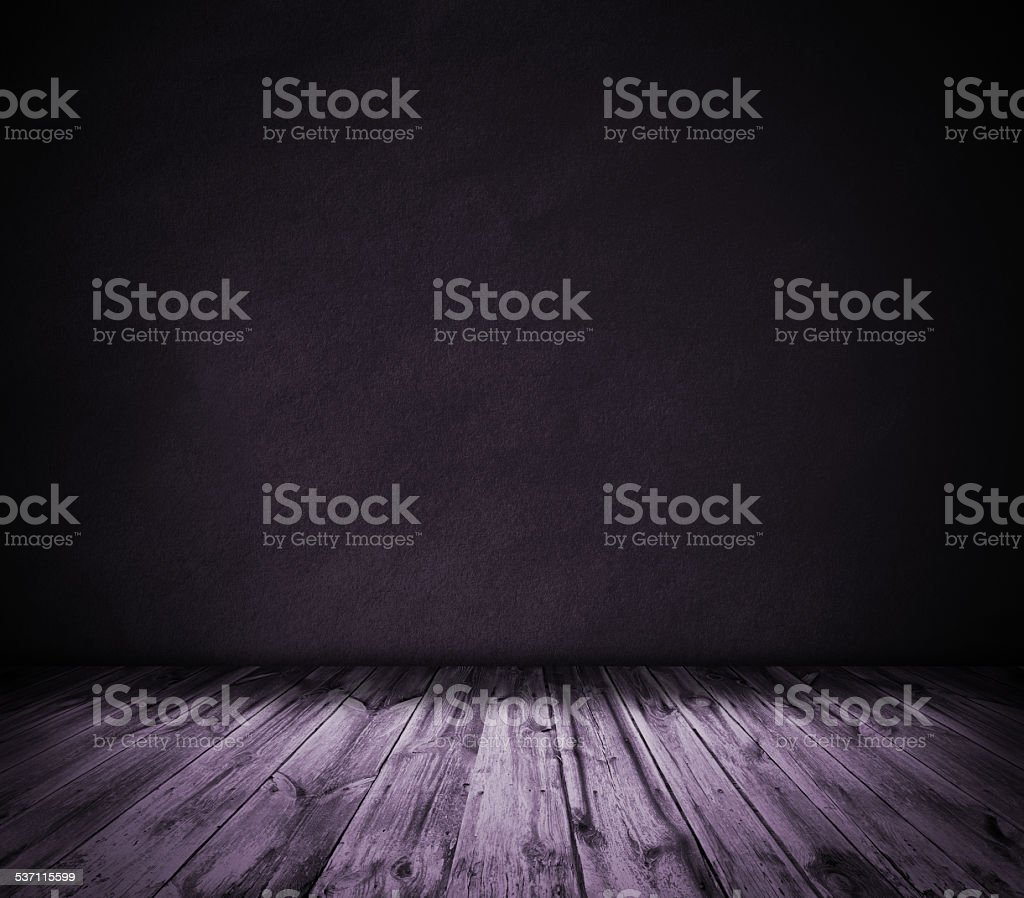 Purple wall and wooden floor interior background stock photo