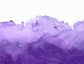 Purple watercolor background hand colored with layers on white watercolor paper. My own work.