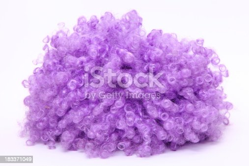 purple wig on white background