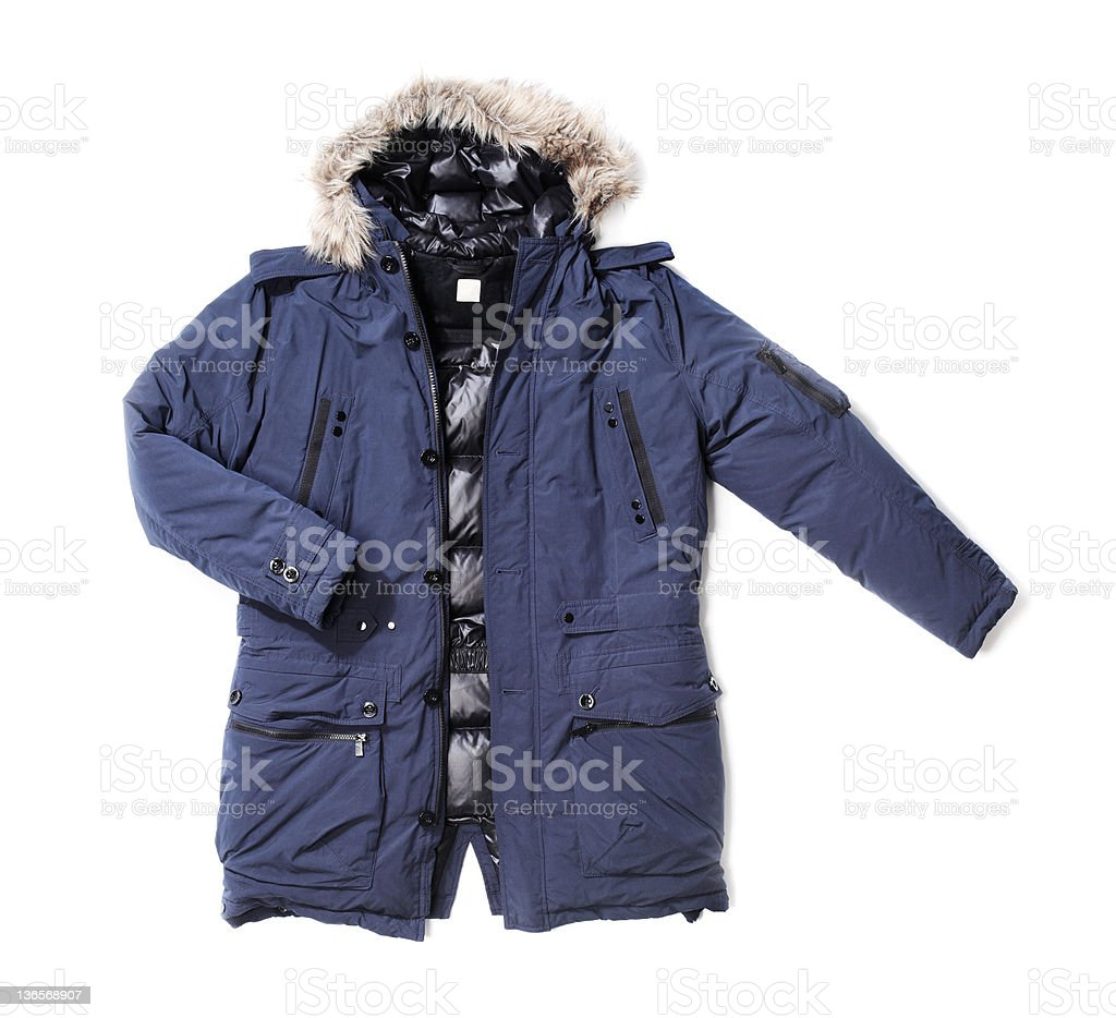 A purple winter parka for a fashion image stock photo