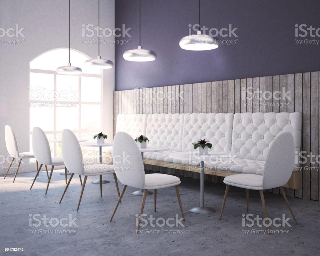 Purple, wood restaurant corner, sofa and chairs royalty-free stock photo
