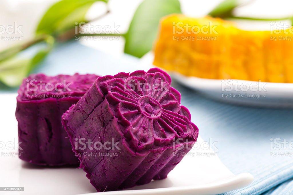 purple yam cake stock photo