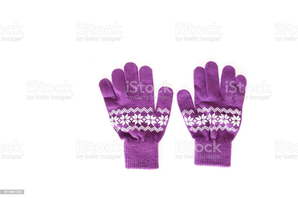 purple yarn glove with white graphics for warm wears on white background , winter gloves, fashion design gloves,fashion clothes stock photo