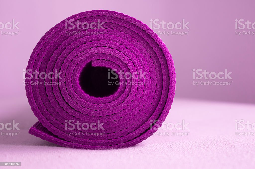 Purple Yoga Mat stock photo
