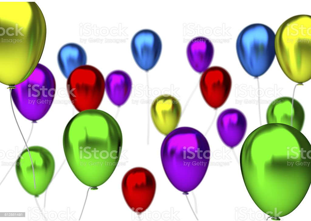 Purpleblue Green Yellow Pink And Red Birthday Balloons Royalty Free