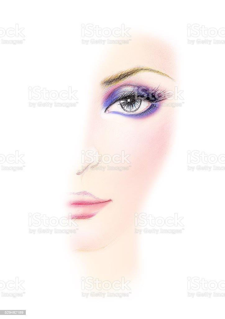 purplish blue Shades of women makeup in half drawn stock photo