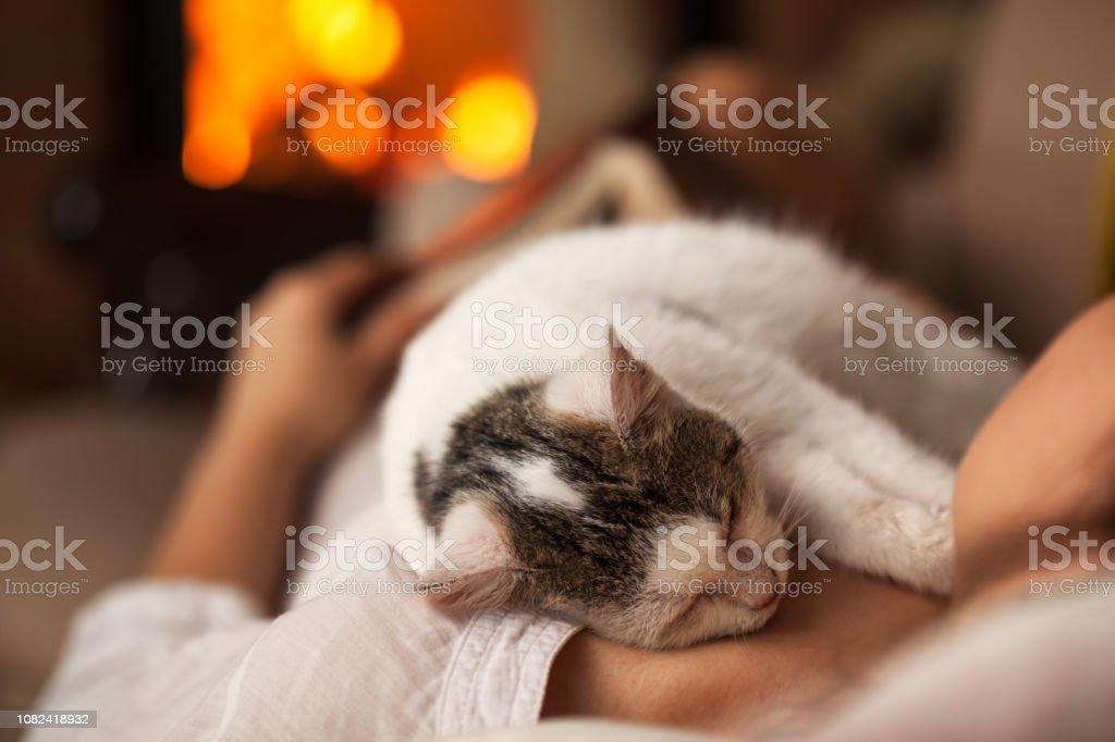 Eine Purrfect Abend - Frau entspannend mit ihrem Kätzchen – Foto