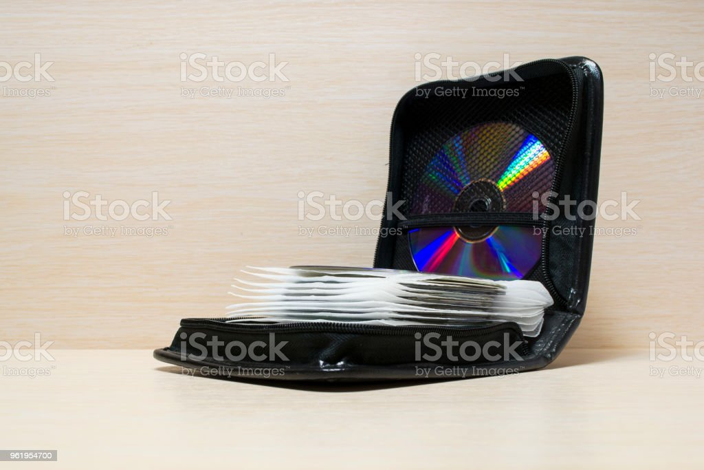 purse for storage of CDs stock photo