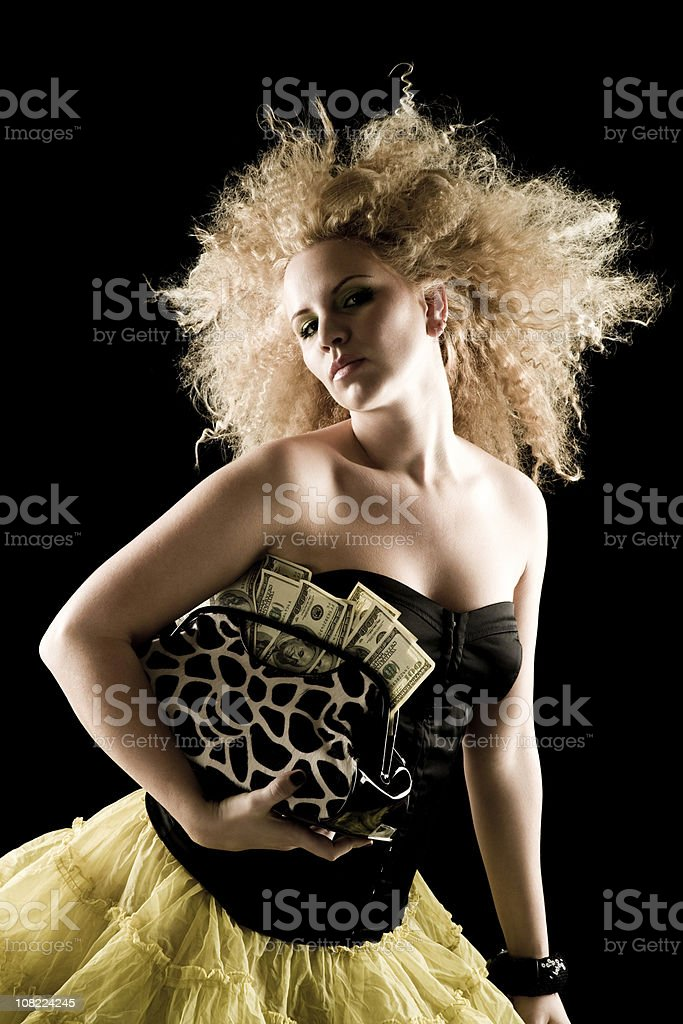 Purse full of money royalty-free stock photo