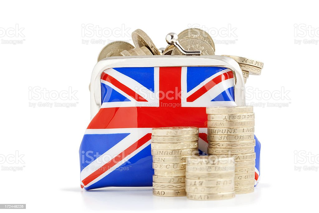Purse of Pounds stock photo