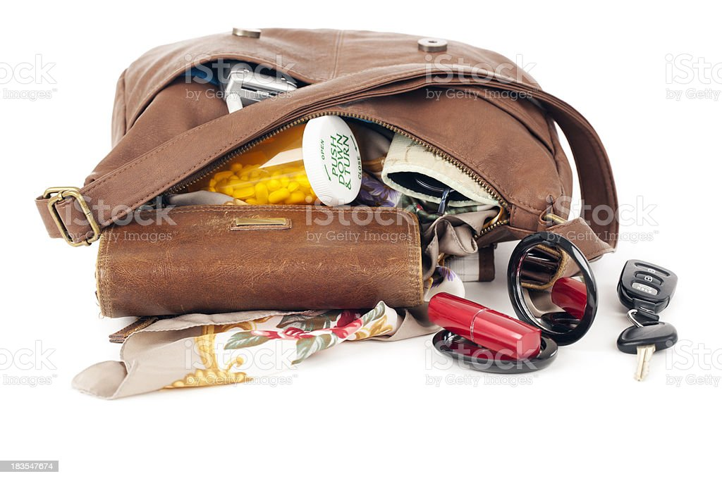 Purse: Open with Contents Spilling stock photo