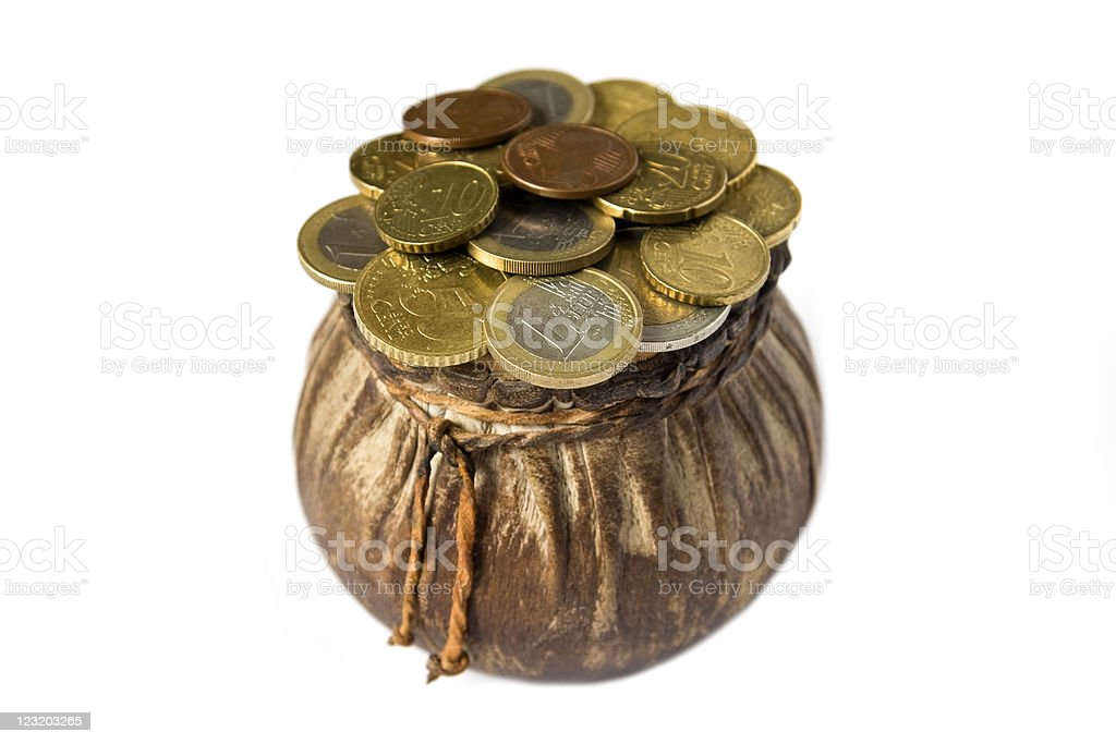 Purse with euro coins isolated stock photo