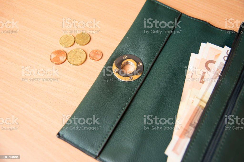 Purse with euros, savings stock photo