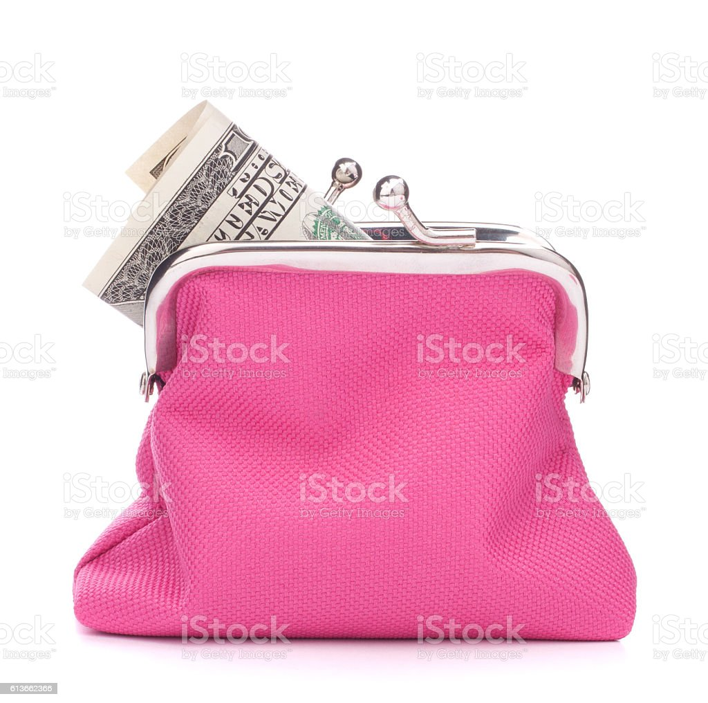 Purse with hundred dollar banknote stock photo