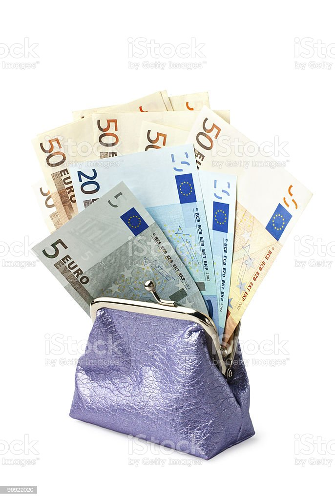 Purse with money isolated on white background (Clipping path included) royalty-free stock photo