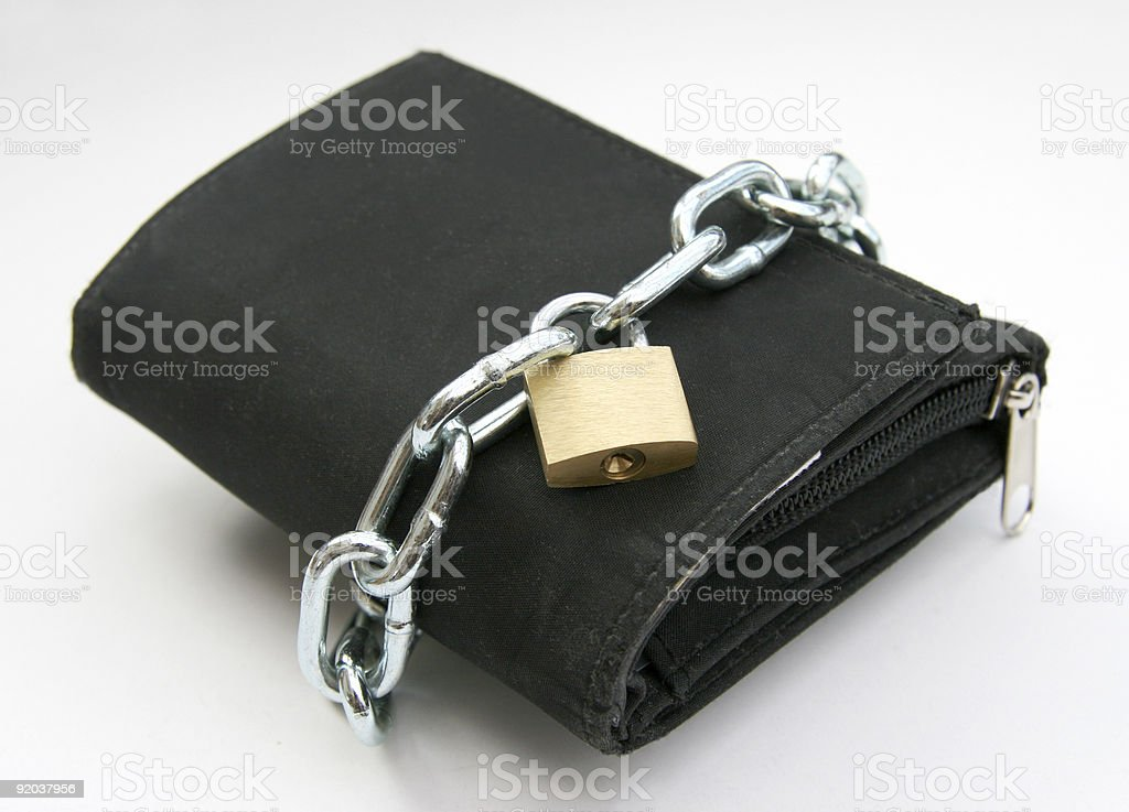 Purse with padlock stock photo