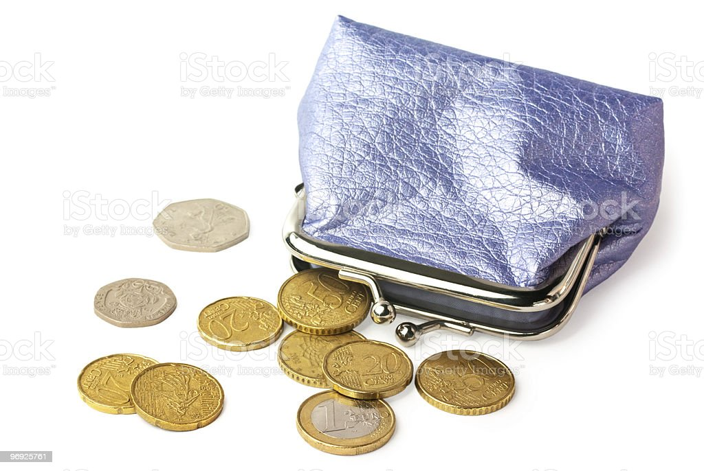 Purse with pocket money isolated on white background royalty-free stock photo