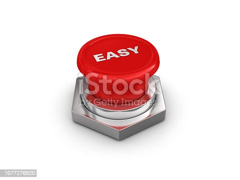 EASY Push Button - White Background - 3D Rendering