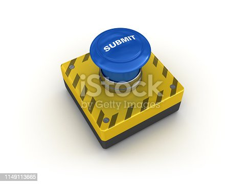 SUBMIT Push Button - White Background - 3D Rendering