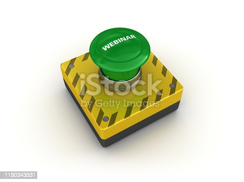 957759714istockphoto WEBINAR Push Button - 3D Rendering 1150343531