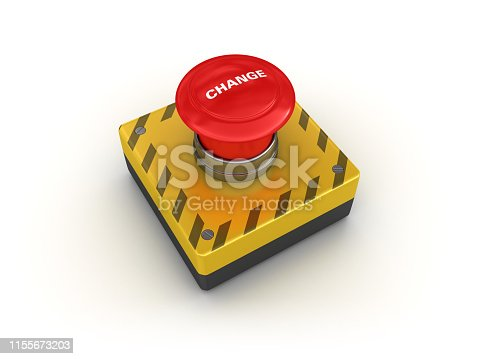 CHANGE Push Button - White Background - 3D Rendering