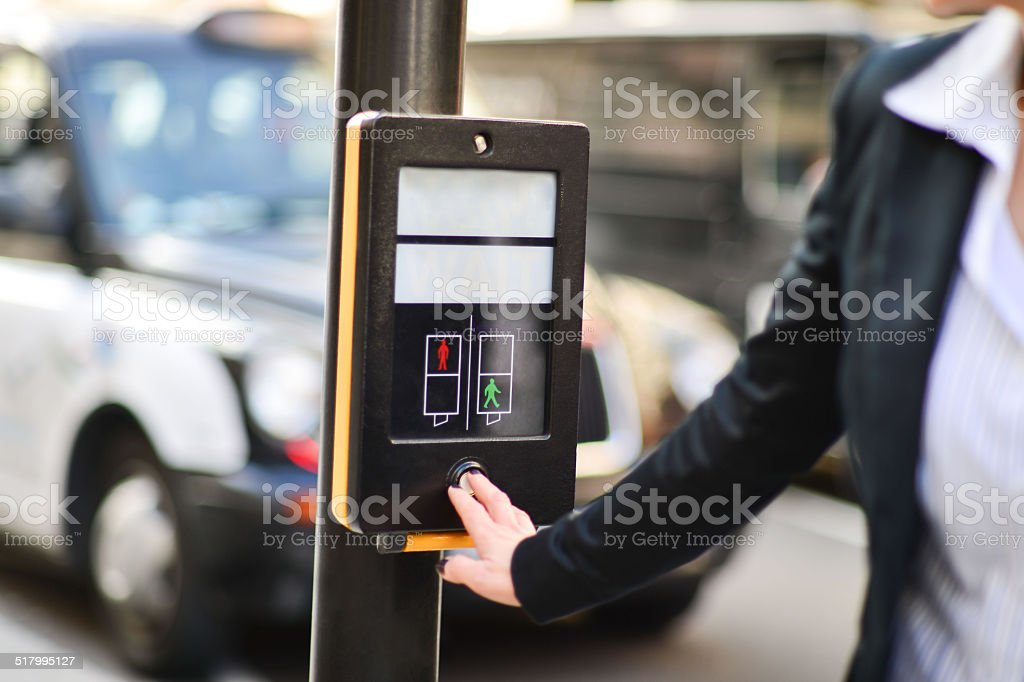 Push button and wait for walk signal royalty-free stock photo