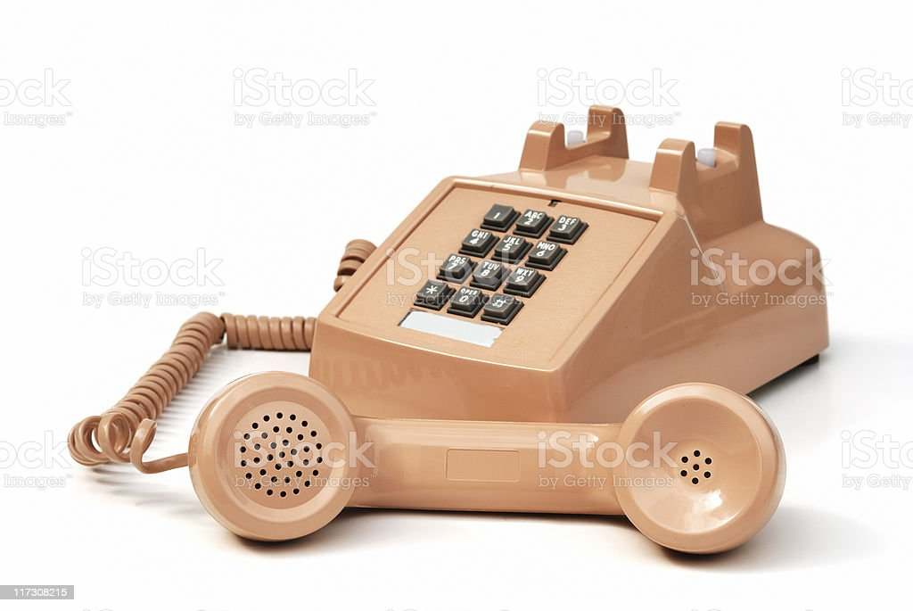 Push button office phone stock photo