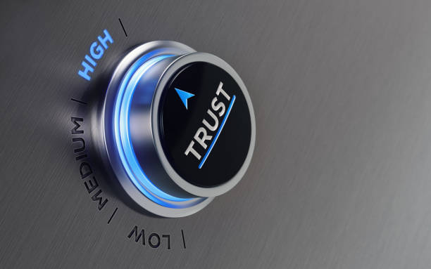 Push Button On Brushed Metal Surface stock photo