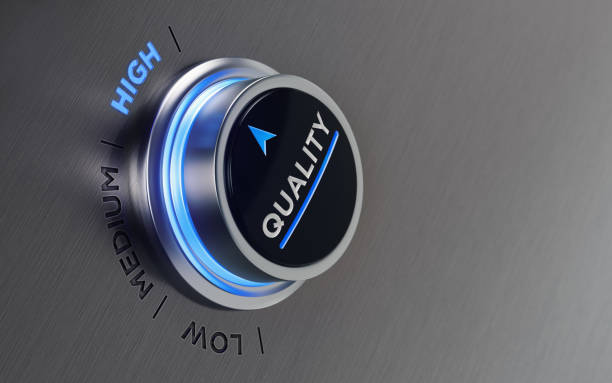 push button on brushed metal surface - quality control stock photos and pictures