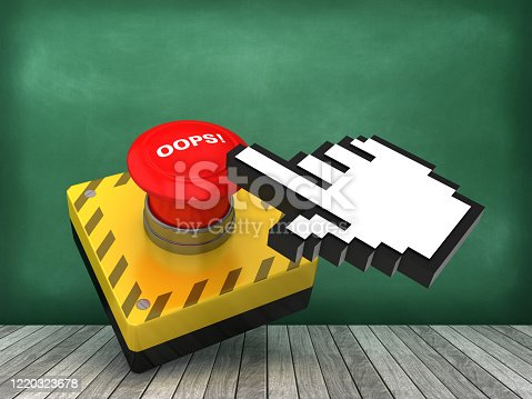 OOPS! Push Button on Chalkboard Background - 3D Rendering
