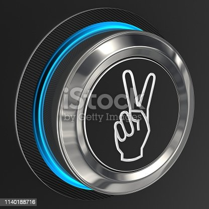 3d render. Push button isolated on black background.