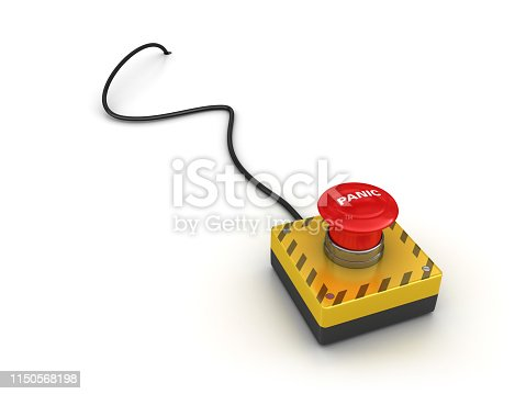 PANIC Push Button with Cable - White Background - 3D Rendering