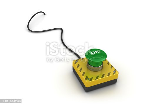 OK! Push Button with Cable - White Background - 3D Rendering