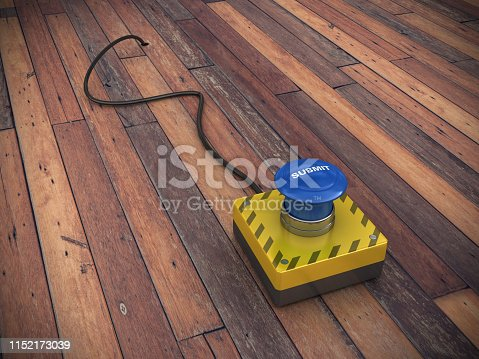 SUBMIT Push Button with Cable on Wood Floor - 3D Rendering